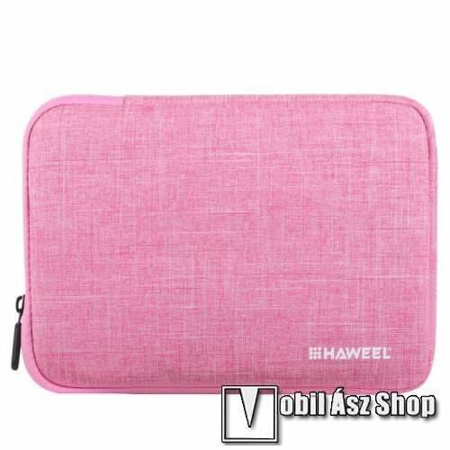 HAWEEL Tablet / Laptop UNIVERZÁLIS tok / táska - RÓZSASZÍN - Szövet, bársony belső, 2 különálló zsebbel, ütődésálló, vízálló - ERŐS VÉDELEM! - 9,7-os készülékekig használható, 250 x 180 x 20 mm