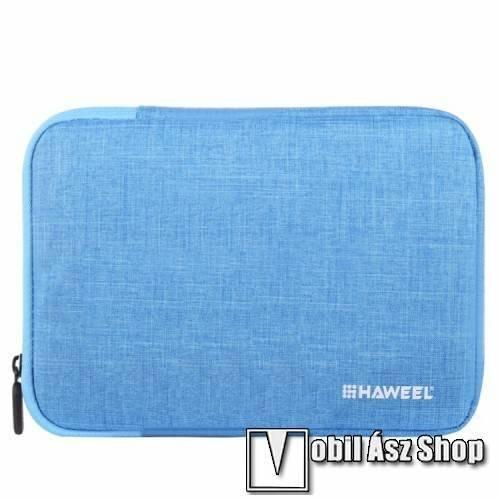 HAWEEL Tablet / Laptop UNIVERZÁLIS tok / táska - KÉK - Szövet, bársony belső, 2 különálló zsebbel, ütődésálló, vízálló - ERŐS VÉDELEM! - 9,7-os készülékekig használható, 250 x 180 x 20 mm