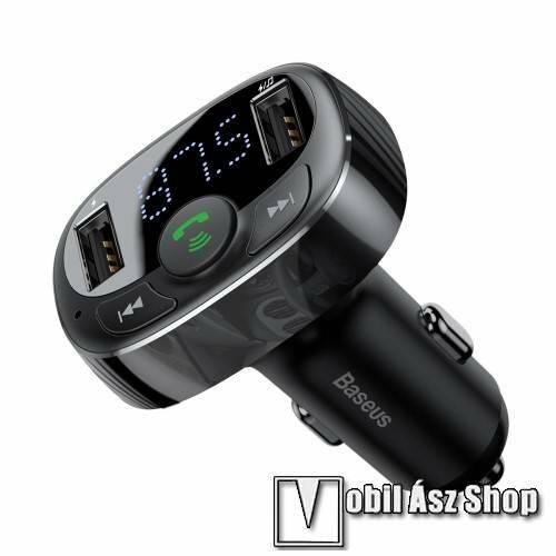 BASEUS BLUETOOTH kihangosító szett - V4.2, szivartöltőbe tehető, FM transmitterrel csatlakozik autórádióra, beépített mikrofon, EXTRA USB töltő aljzatok, 5V/3.4A (max) - FEKETE - CCTM-01 - GYÁRI