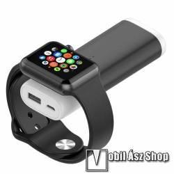 Magnetic vésztöltő töltő / hordozható töltő / QI Wireless hálózati töltő állomás - 5200mAh, 5V 2A, Wireless Charger APPLE Watch okosórákhoz, 5V/0.4A - 113 x 42 x 22mm - FEKETE