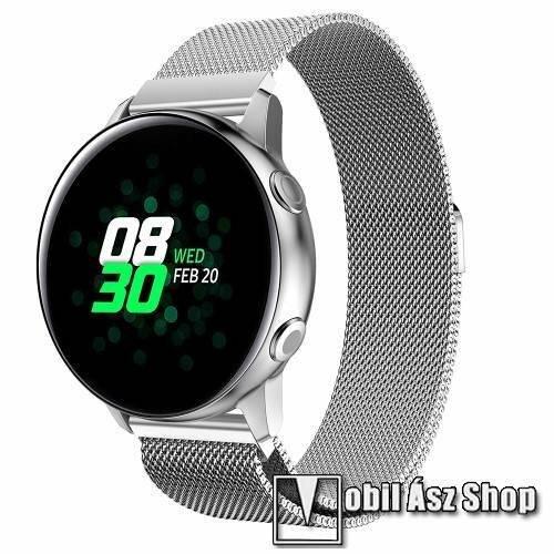 Okosóra milánói szíj - rozsdamentes acél, mágneses - EZÜST - 215mm hosszú, 20mm széles - SAMSUNG Galaxy Watch 42mm / Xiaomi Amazfit GTS / SAMSUNG Gear S2 / HUAWEI Watch GT 2 42mm / Galaxy Watch Active / Active 2